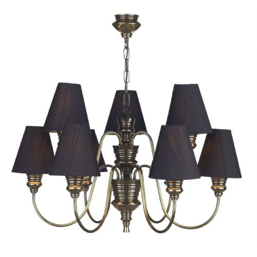 Dar Doreen 9 Light Bronze Pendant complete with Silk Shades (Specify Colour) DOR1300